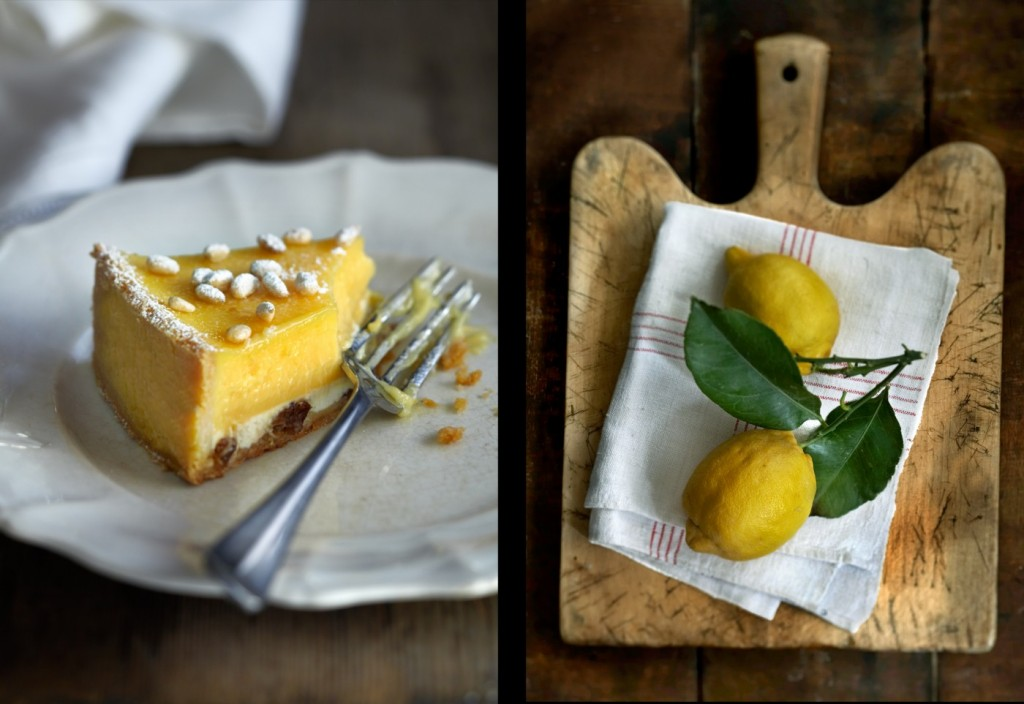 lemon tart pinenuts leaves cheesecake